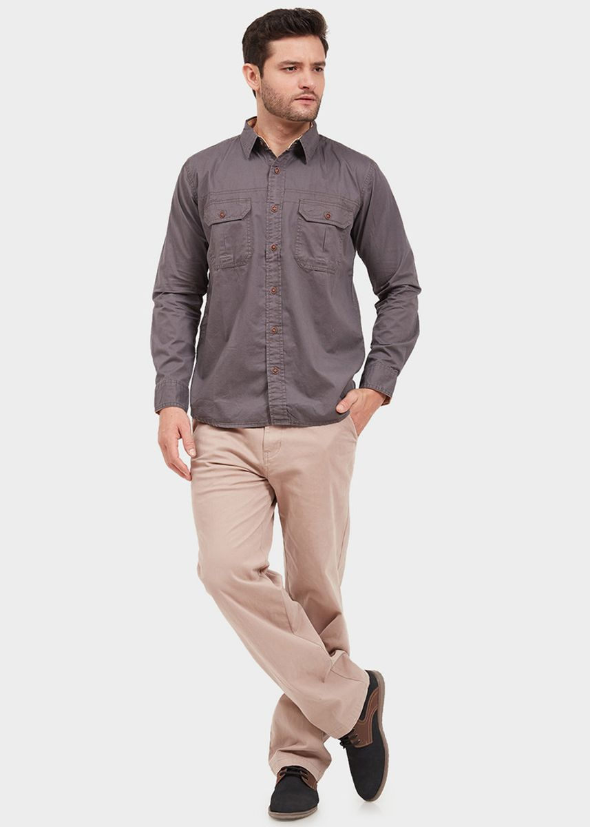 Grey color Casual Shirts . EMBA CLASSIC-Opey Men's Shirt in Grey -