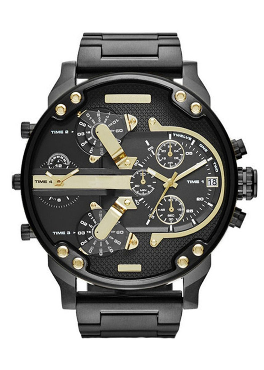 Black color Chronographs . Men's Watch Individuality Large dial Trendy Watch Stainless Steel with Quartz Watch -