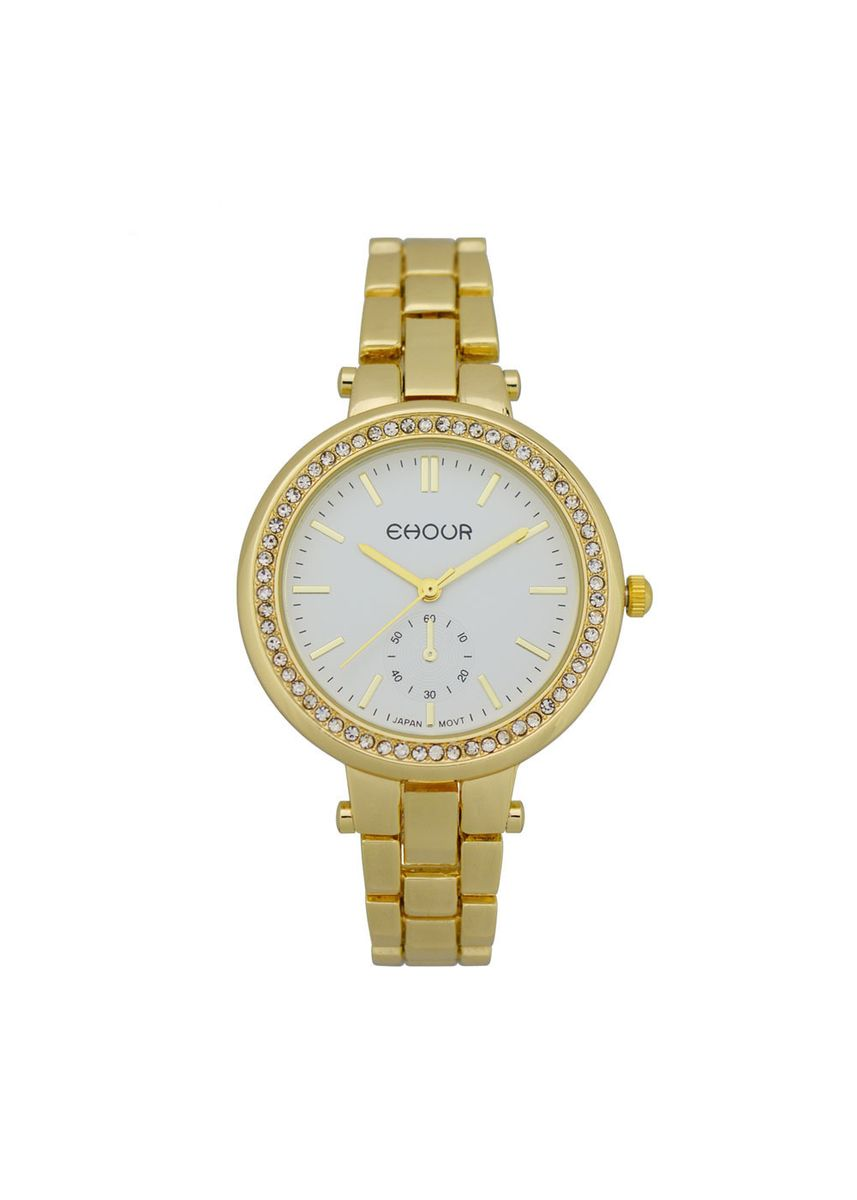 Gold color Chronographs . New Fashion Ladies Rose Gold Quartz Watch -