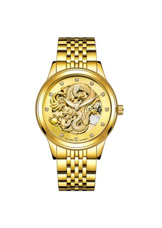 Gold color Chronographs . Swiss Tevise Twist Dragon Watch Men's Watch Explosion Couple Watch Waterproof Nightlight Automatic Mechanical Watch -