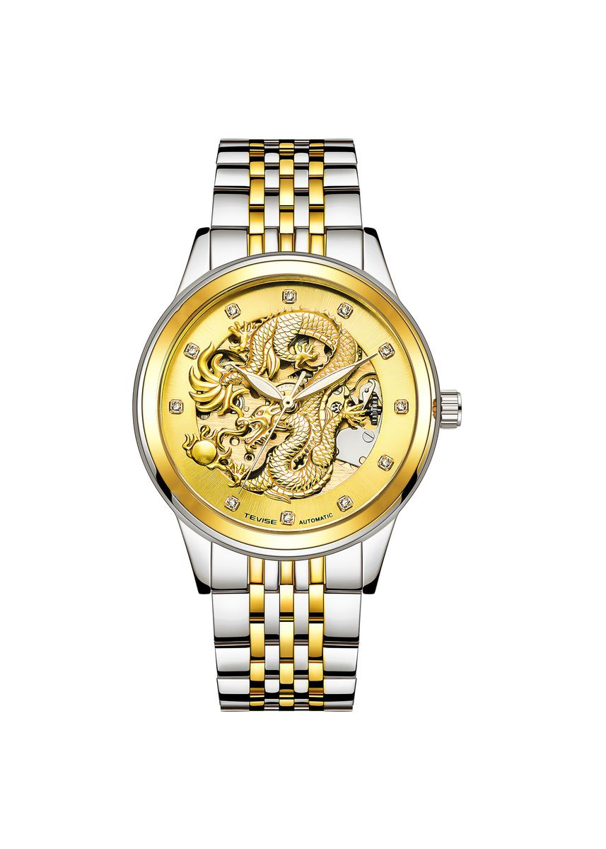 White color Chronographs . Swiss Tevise Twist Dragon Watch Men's Watch Explosion Couple Watch Waterproof Nightlight Automatic Mechanical Watch -