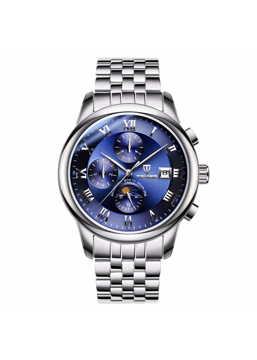 Blue color Chronographs .  Multifunctional Men's Mechanical Watch Automatic Waterproof Calendar Leisure Men's Watch -