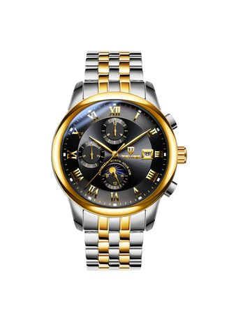 Black color Chronographs .  Multifunctional Men's Mechanical Watch Automatic Waterproof Calendar Leisure Men's Watch -