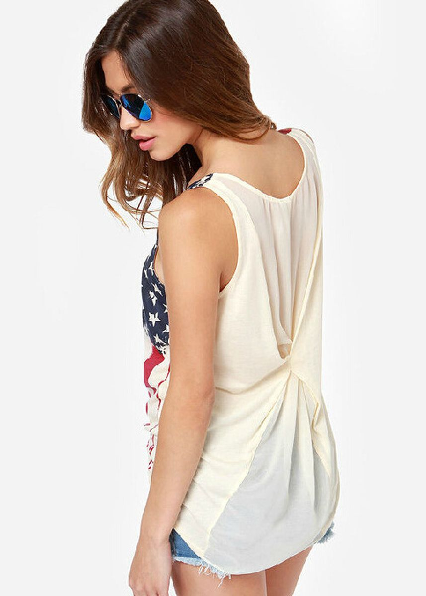 ขาว color เสื้อยืดและเสื้อเชิ้ต . New Printed Back Chiffon Knit Pleated Sleeveless T-Shirt Women's Vests -
