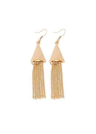 Gold color  . Fringed fashion exaggerated alloy earrings -