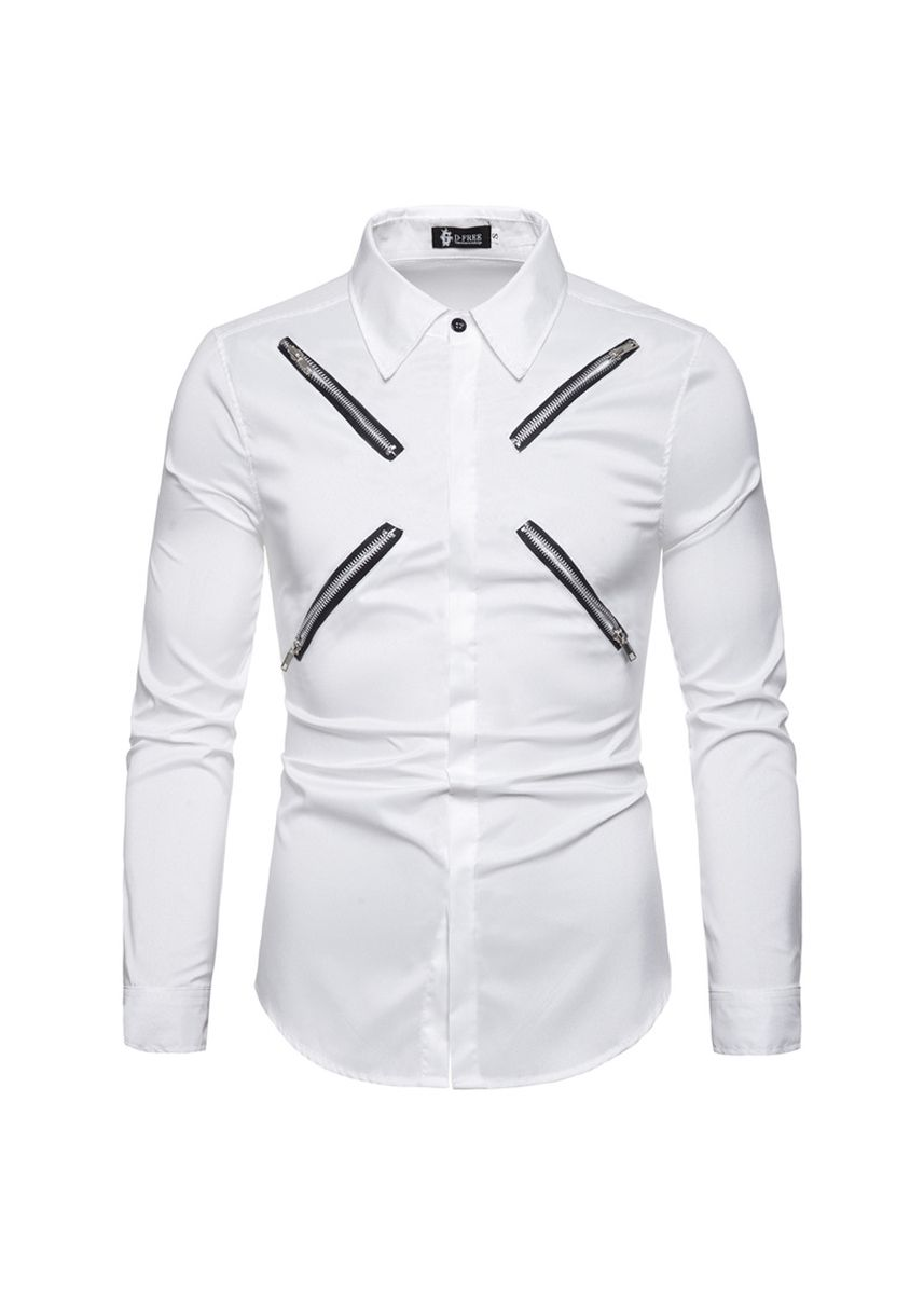 White color Casual Shirts . zipper-trimmed long-sleeved shirts -