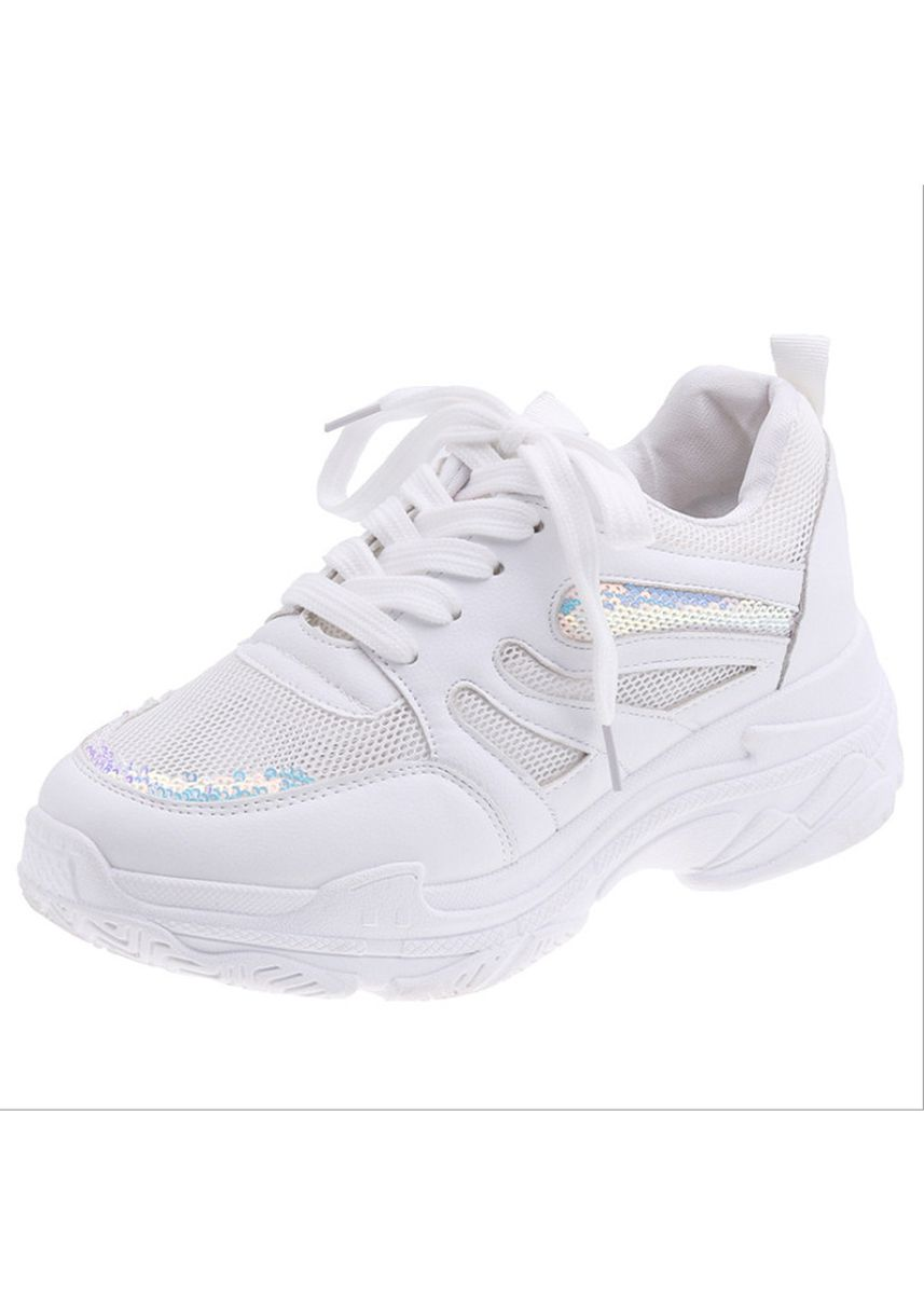 ขาว color รองเท้าลำลอง . Breathable Mesh Sports Casual Shoes Female Sequins Color Matching -
