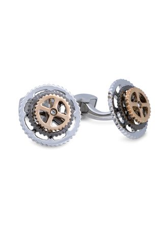 Silver color Cufflinks . A.Azthom Rotatable Bike Gear Rhodium Trio Colour Plated Cufflinks -
