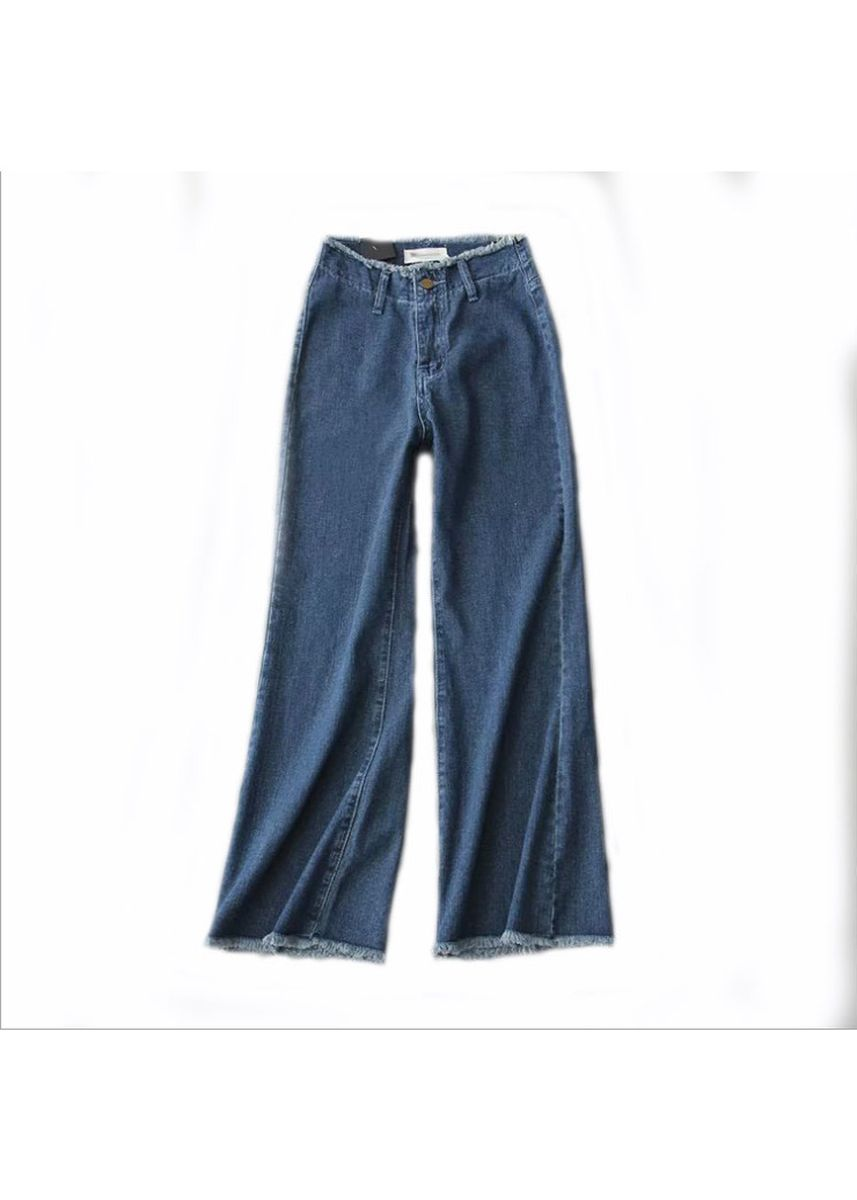 Blue color Jeans . High waist edging washed denim wide leg women's trousers -