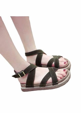 Green color Sandals and Slippers . Khoee Women's Flat Sandals -