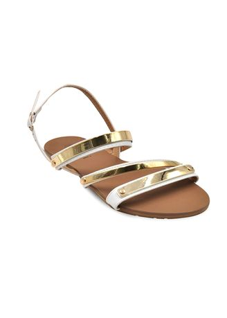 White color Sandals and Slippers . Khoee Women's 2 Strap Flat Sandals -