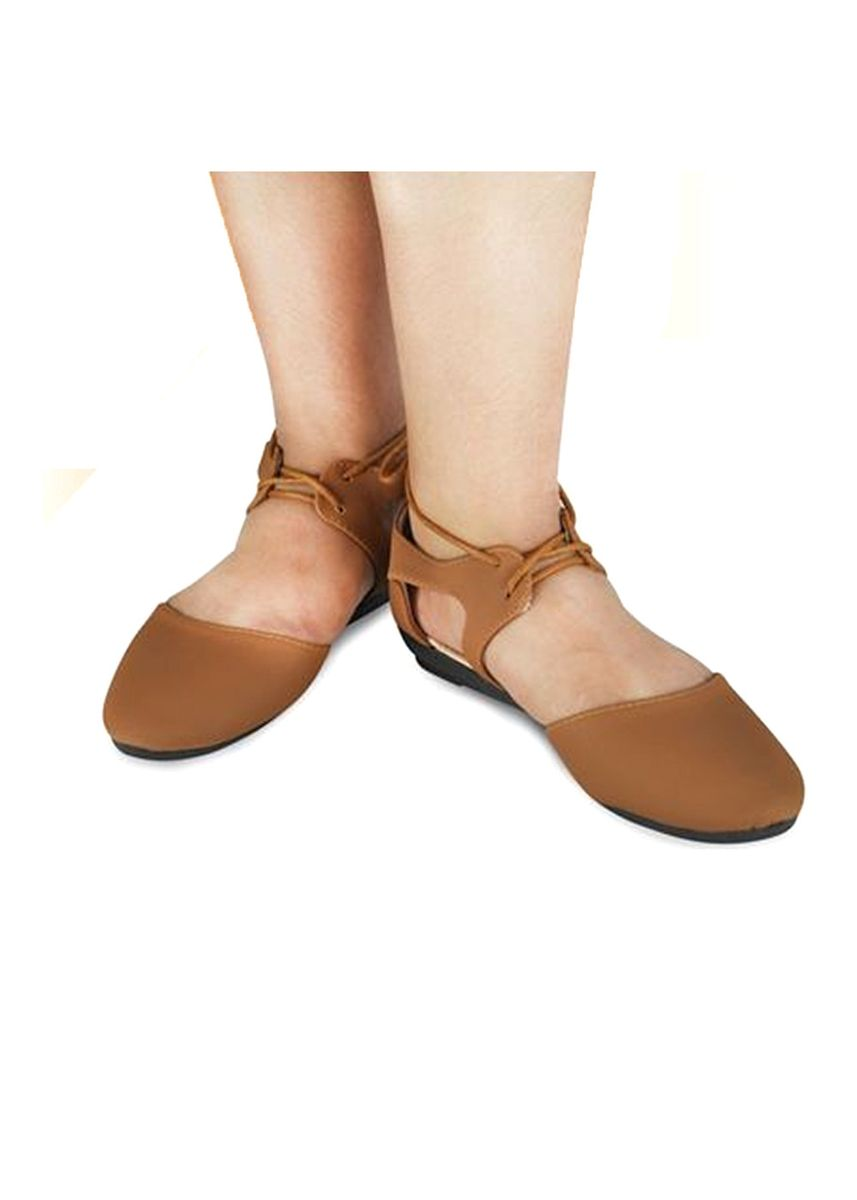 Brown color Sandals and Slippers . Khoee Women's Lace Up Ballet Flat Sandals -
