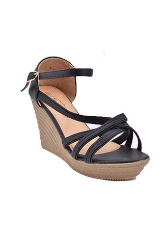 Black color Sandals and Slippers . Khoee Women's Strappy Wedge Sandals -
