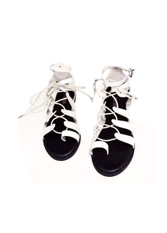 White color Sandals and Slippers . Khoee Women's Flat Gladiator Fashion Sandals -