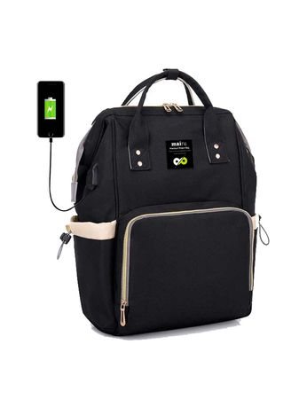 Black color Backpacks . Mairu 2209 Tas Ransel Perlengkapan Popok Bayi Travel Baby Bag Import Backpack Korean Fashion - Diaper Bag - With USB Port Support -