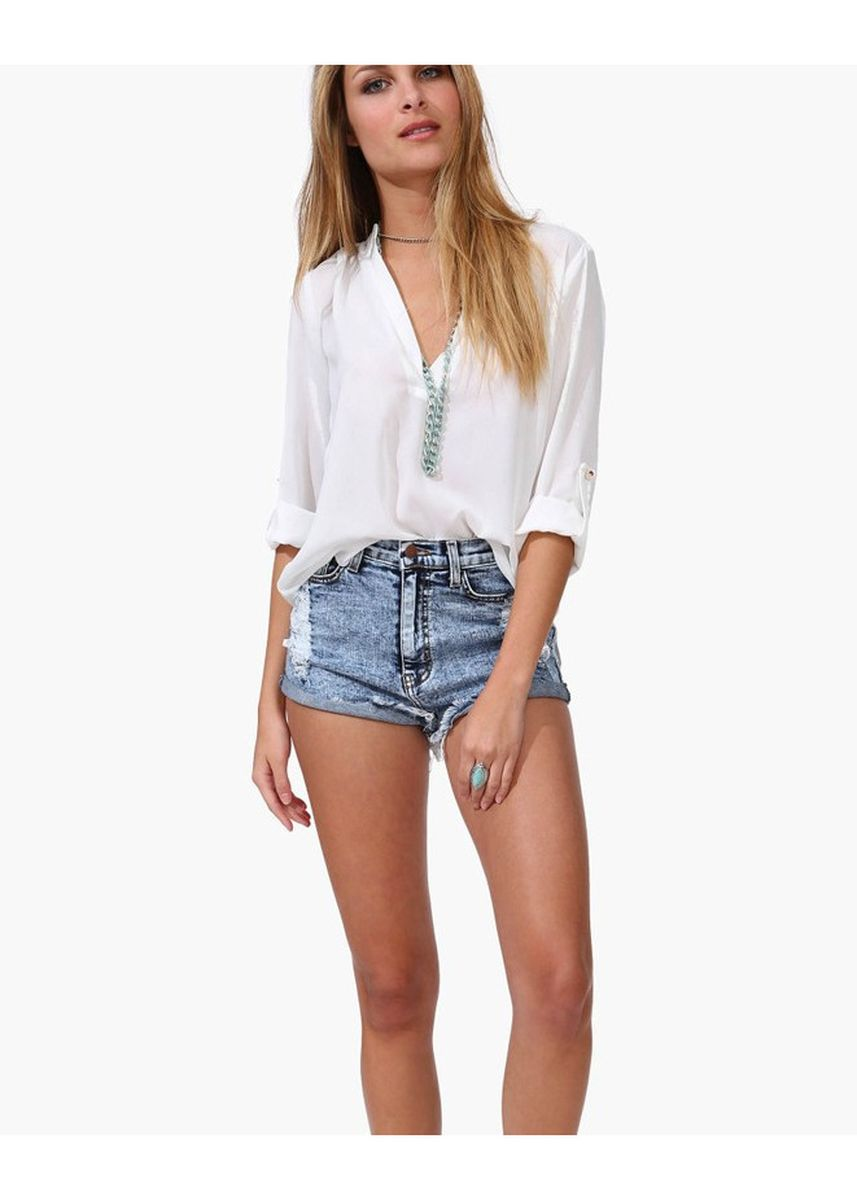 White color Tops and Tunics . V-collar long sleeve wrinkled sleeve loose chiffon blouse -