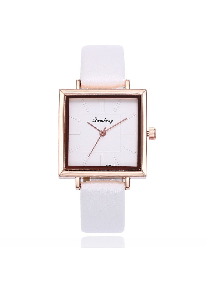 White color Analog . Korean Version of The Stylish Square Dial Simple Scale Lady Quartz Watch Female Student Wrist Table -