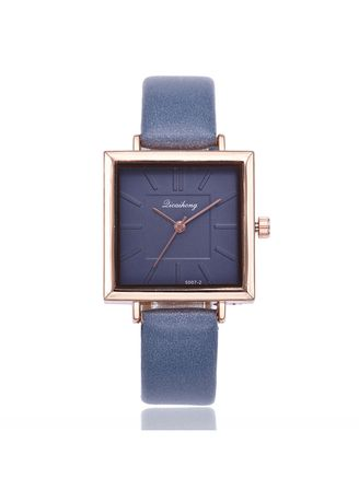 Blue color Analog . Korean Version of The Stylish Square Dial Simple Scale Lady Quartz Watch Female Student Wrist Table -