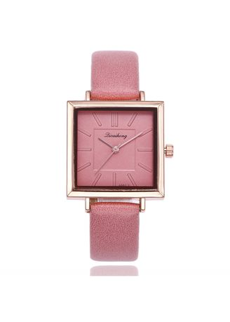 Pink color Analog . Korean Version of The Stylish Square Dial Simple Scale Lady Quartz Watch Female Student Wrist Table -