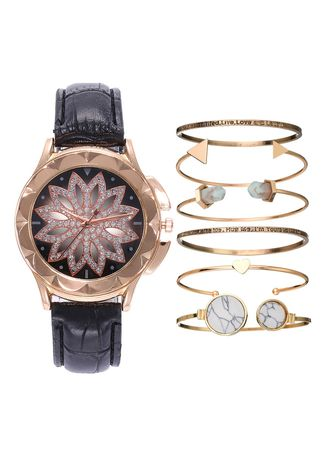 Black color Analog . Ladies fashion luxury diamond cut-out quartz watch bracelet set -