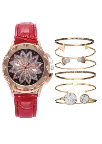 Red color Analog . Ladies fashion luxury diamond cut-out quartz watch bracelet set -