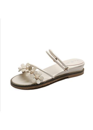 White color Sandals and Slippers . Flower Women's Wedge Heel Casual Female Sandals -