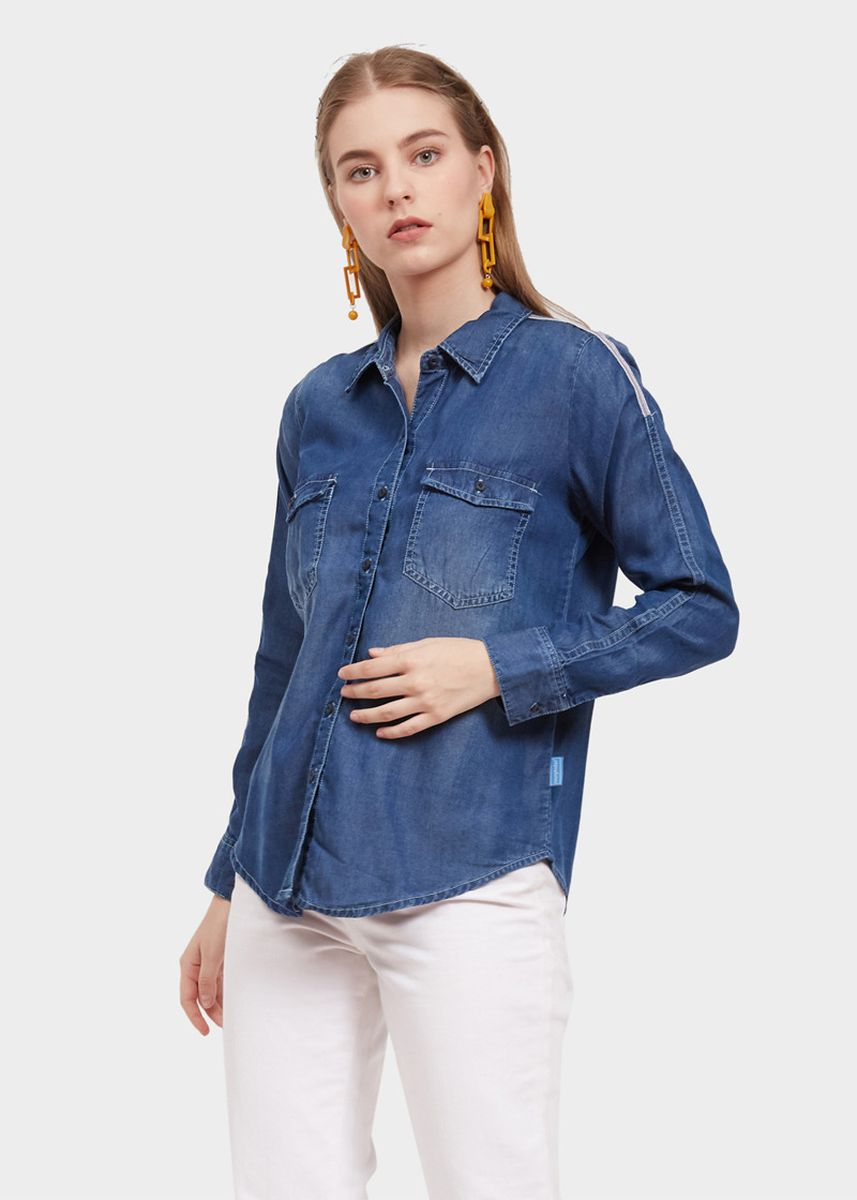 Biru Dongker color Kaus & Kemeja . Morphidae Aurell Women Blouse in Heavy Stom -
