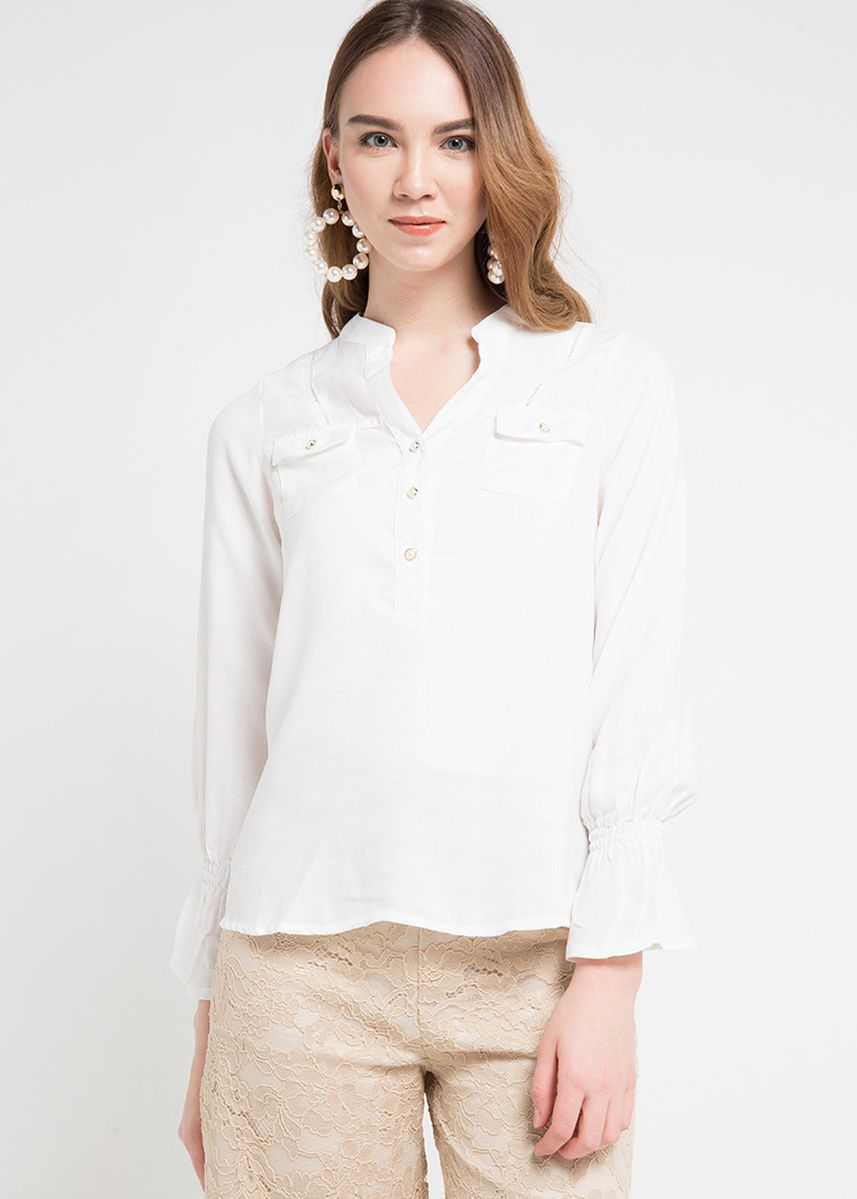 White color Tops and Tunics . X8 Carissa Blouses -