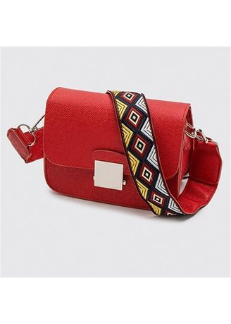 Red color Sling Bags . Women's Lock Buckle Small Square Sling Bag -