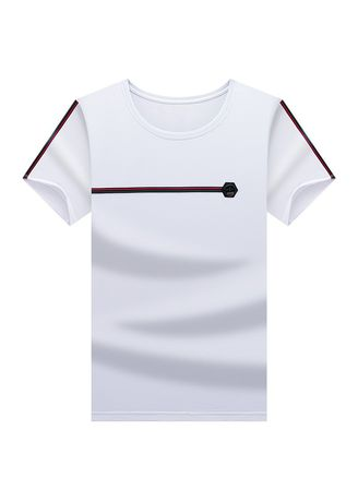 White color T-Shirts and Polos . Men's O-neck Casual Short Sleeved T-shirt -