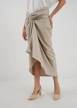 Brown color Skirts . Berrybenka Rosetti Wrap SKirt Brown -