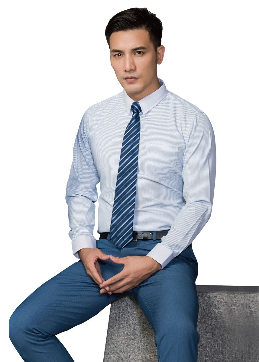 ฟ้า color เสื้อเชิ้ตแบบสุภาพ . Men's long-sleeved shirt white-collar design high-grade striped fabric -