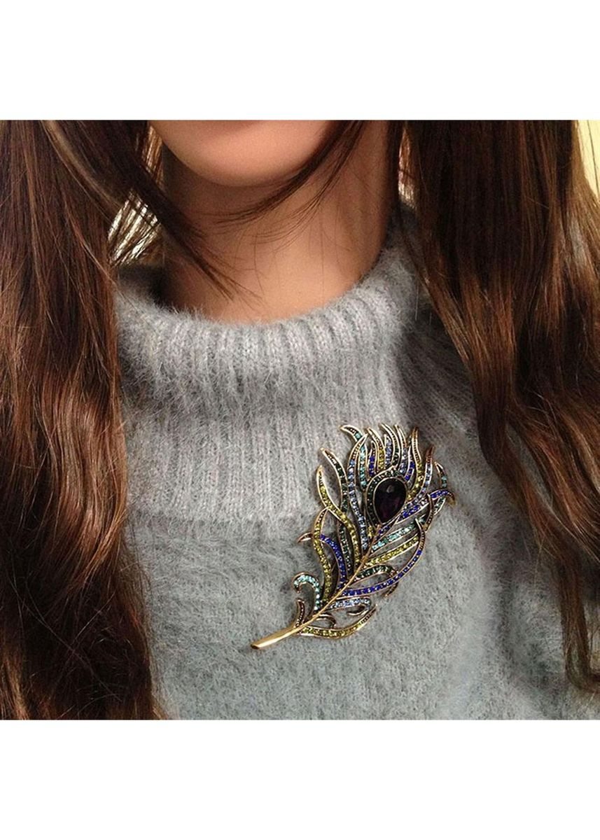 มัลติ color  . Dazzling Peacock Feather Alloy Brooch Fashion Jewelry Accessory For Ladies -
