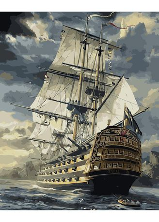 Multi color Home Decor . DIY Oil Painting Canvas Ship Painting By Numbers Kit Wall Art Gift  -