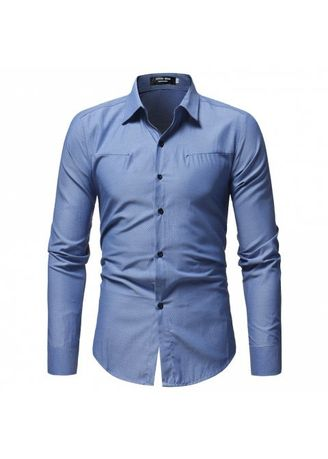 Blue color Casual Shirts . Men's New Wavy Dark Solid Color Casual Long-Sleeved Shirt -