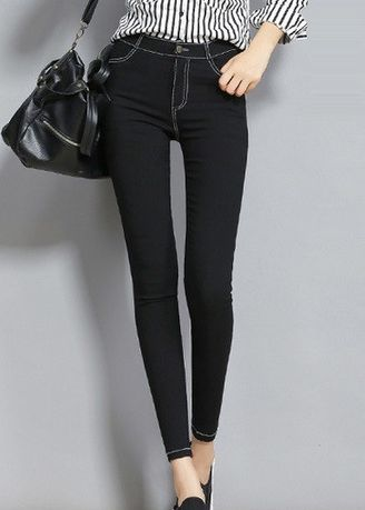 Black color Jeans . KeiraShop High-waist Skinny Black Jeans -