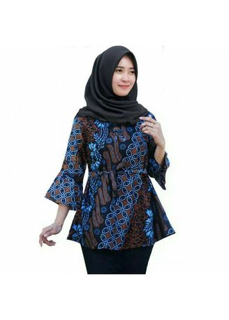 Blue color Tops and Tunics . DT COLLECTION - BATIK BLOUSE WANITA / CEWEK MOTIF KAWUNG BIRU -
