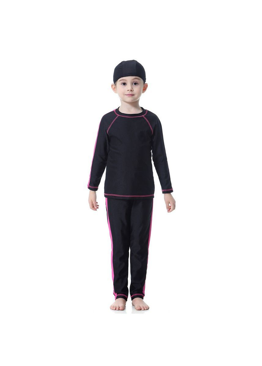 ดำ color ชุดว่ายน้ำ . Baby Girls Full Cover Sportswear Childre Modest Muslim Swimwear  -