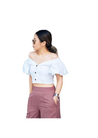 White color Tops and Tunics . M&T.Store เสื้อ So Cute Crop -