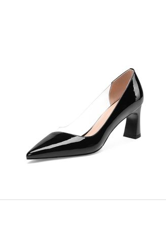 Black color Heels . Pointed Rough With Female Paint Shallow Mouth Shoes -