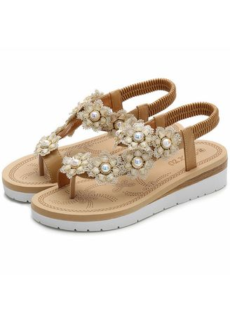 Khaki color Sandals and Slippers . Ladies Fashion Pearl Flower Soft Sandals -