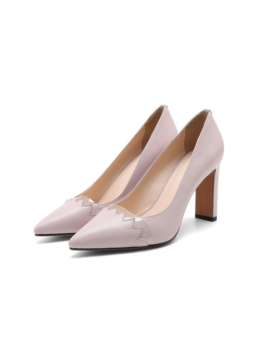 White color Heels . Pointed Thick Heels -