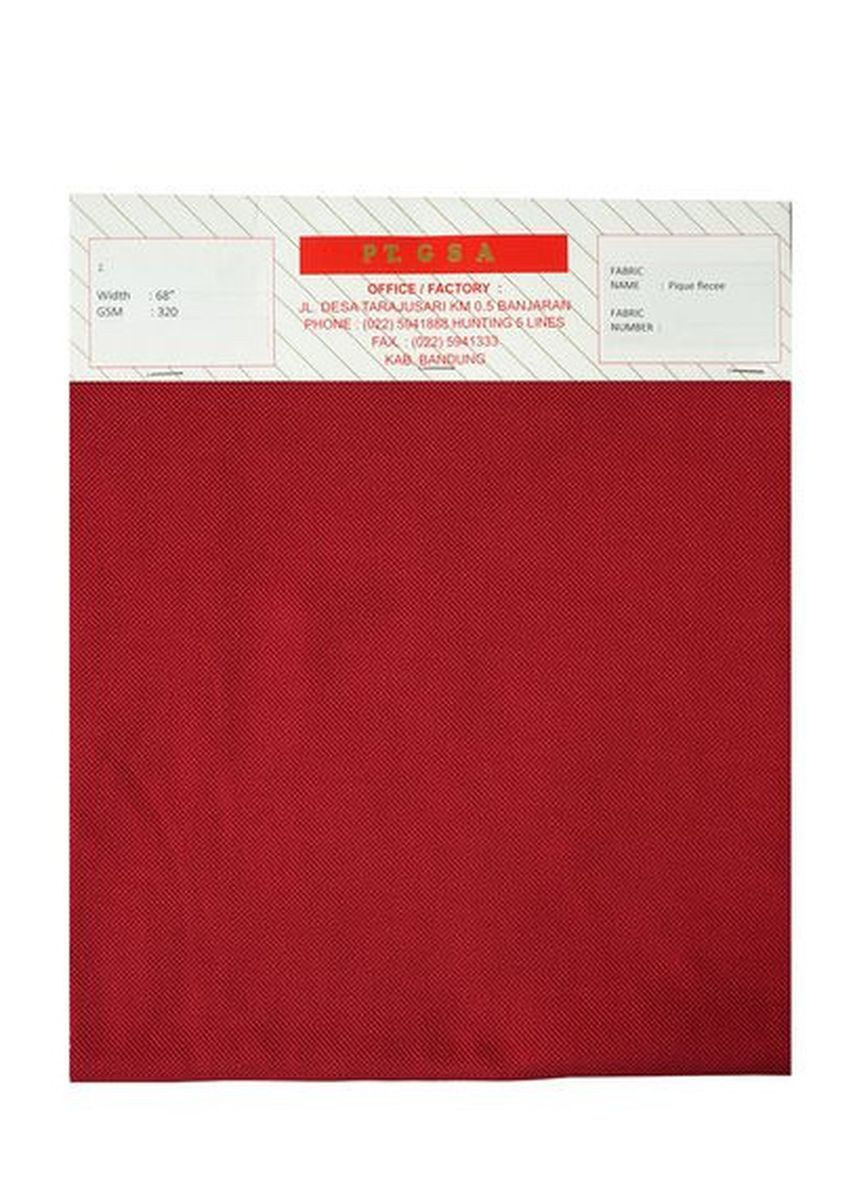 Red color Cotton . Pique Fleece -