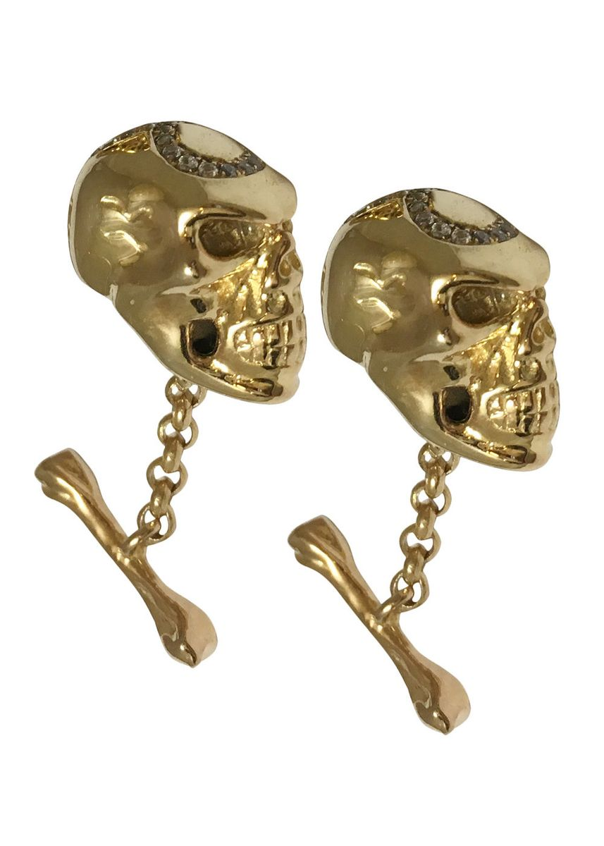 Gold color Cufflinks . 8 Ball Skull Cufflinks -