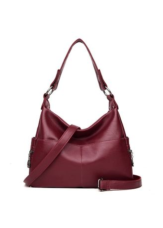 Red color Hand Bags . Casual Leather Handbag -
