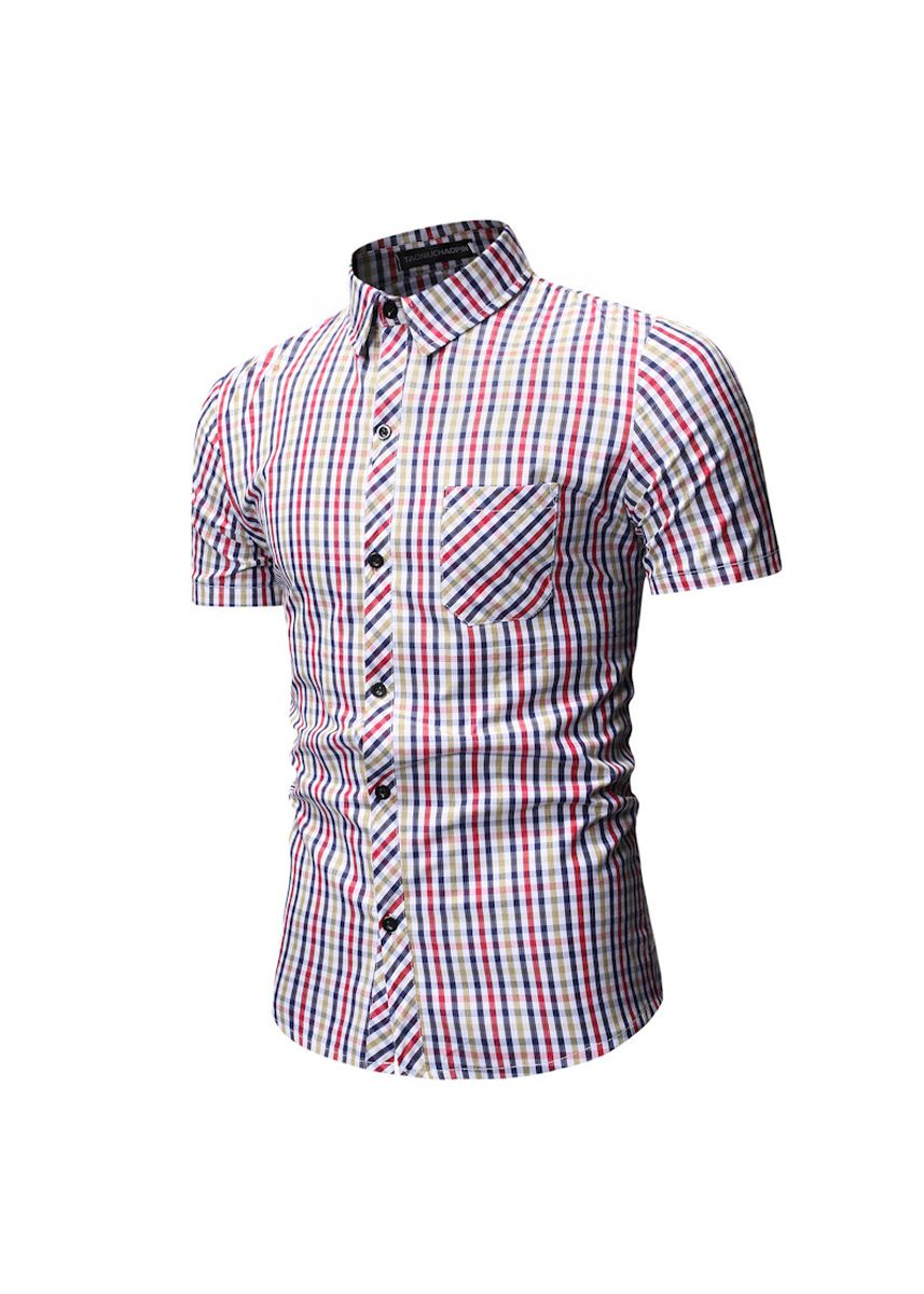 Red color Casual Shirts . Short-Sleeved Checked Shirts -