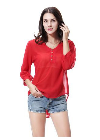 Red color Tops and Tunics . Solid Chiffion Blouse -