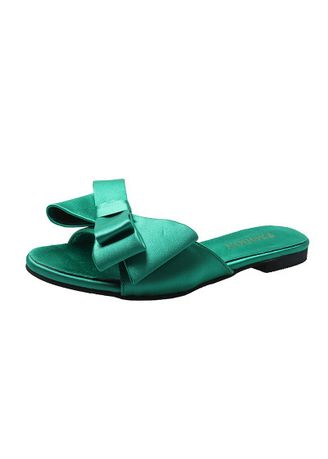 Green color Sandals and Slippers . Women'S New Bow Satin Round Head Sandals -