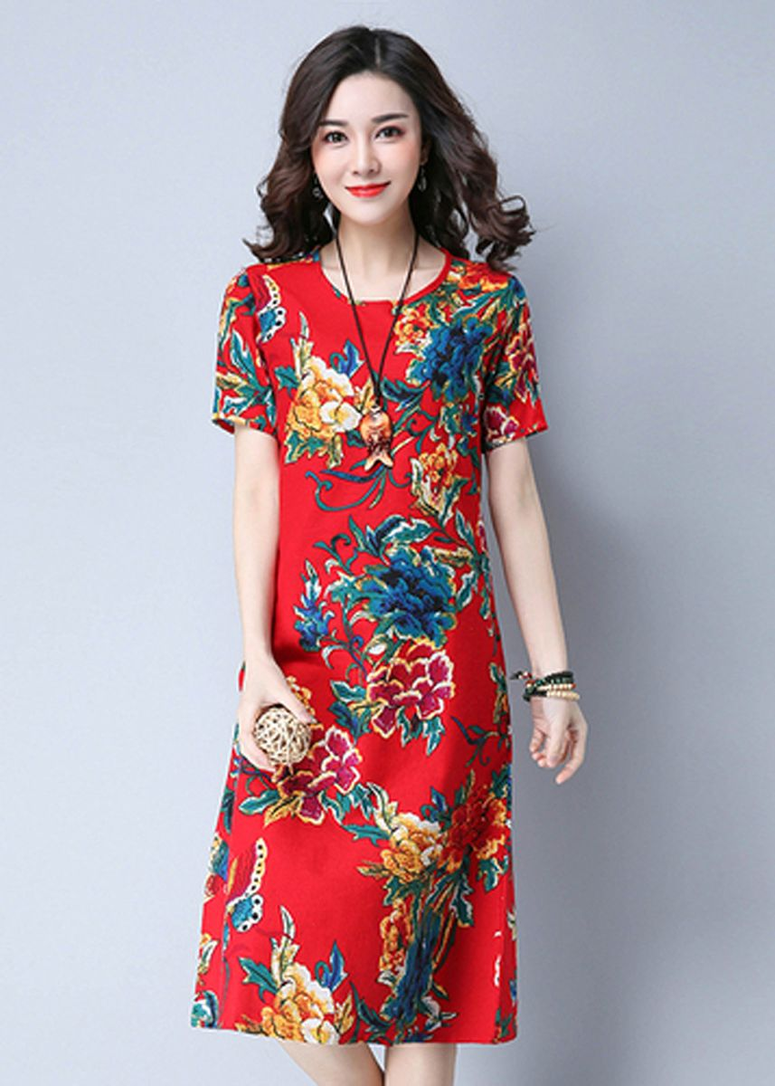 Red color Dresses . Summer Short Sleeve Ethnic Loose Shift Dress -