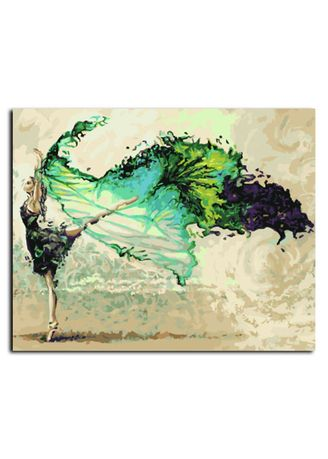 Multi color Home Decor . Frameless DIY Oil Painting Canvas Ballet Dancer Painting By Numbers Kit -